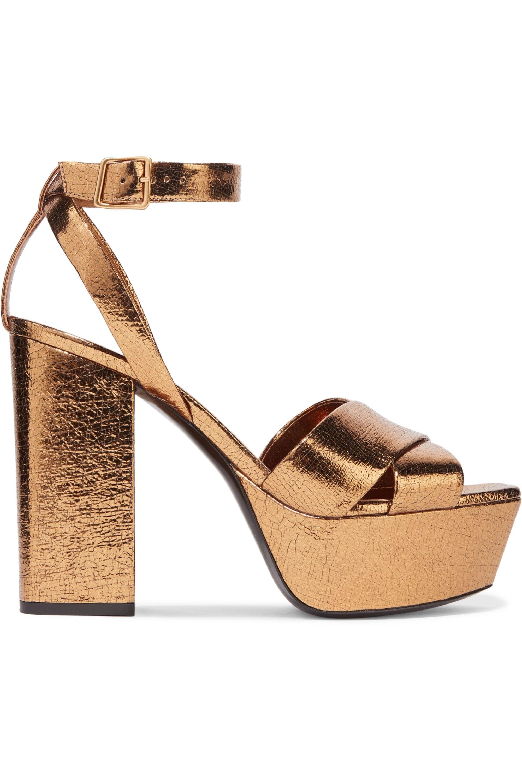 SAINT LAURENT Farrah metallic cracked-leather platform sandals