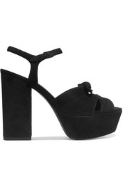 Saint Laurent Farrah bow-embellished suede platform sandals