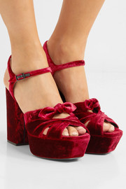 Saint Laurent Farrah bow-embellished velvet platform sandals
