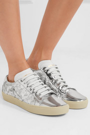 Court Classic appliquéd metallic leather sneakers