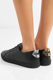 Saint Laurent Court Classic metallic snake-trimmed leather sneakers