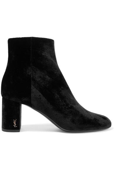 Saint Laurent - Loulou Velvet Ankle Boots - Black