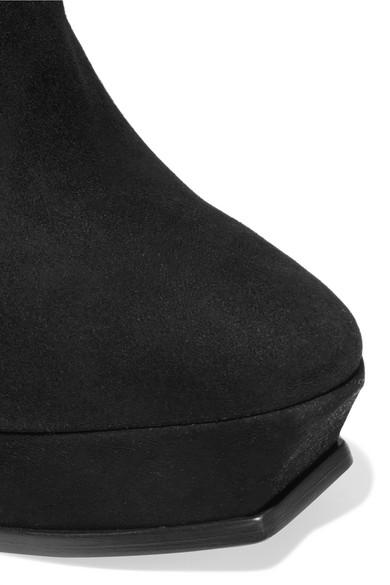 Saint Laurent Tribute Ankle Boots aus Veloursleder mit Plateau Billig Verkauf 2018 Neueste Footaction Zum Verkauf Billig Heißen Verkauf Erhalten Authentisch Günstigen Preis Freies Verschiffen 2018 Neue EzfInq1eQ