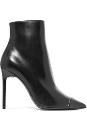 Saint Laurent Anja embellished smooth and croc-effect leather ankle boots