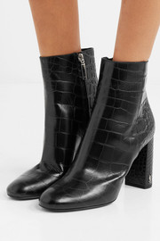 Saint Laurent Loulou croc-effect leather ankle boots