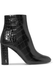 Loulou croc-effect leather ankle boots