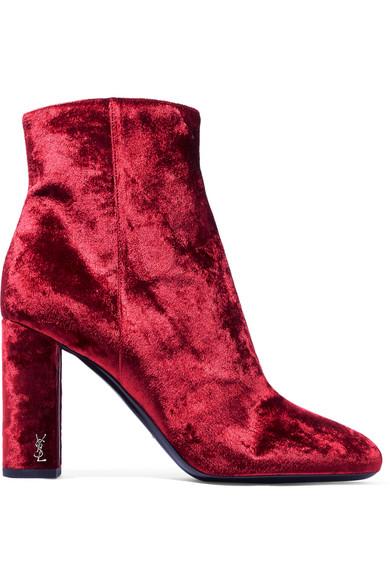 Saint Laurent - Loulou Velvet Ankle Boots - Crimson