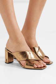 Loulou metallic cracked-leather mules