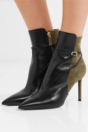 Saint Laurent Anja leather and suede ankle boots