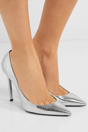 Saint Laurent Anja metallic textured-leather pumps