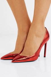 Saint Laurent Anja metallic cracked-leather pumps
