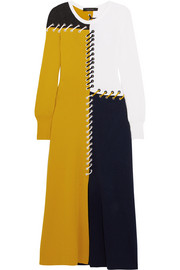 Color-block whipstitched wool and cashmere-blend midi dress