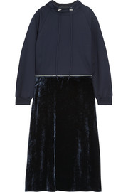 Cédric Charlier Convertible cotton-jersey and velvet hooded midi dress