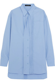 Cédric Charlier Oversized pintucked cotton-poplin shirt