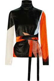 Cédric Charlier Tie-front color-block velvet top