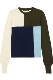 Cédric Charlier Color-block wool and cashmere-blend sweater