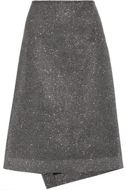 Textured-lamé midi skirt