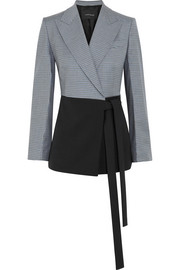 Cédric Charlier Checked wool-blend wrap jacket