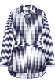 Gingham cotton-blend poplin shirt