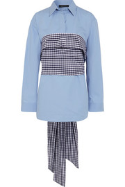 Cédric Charlier Wrap-around gingham and cotton-poplin shirt