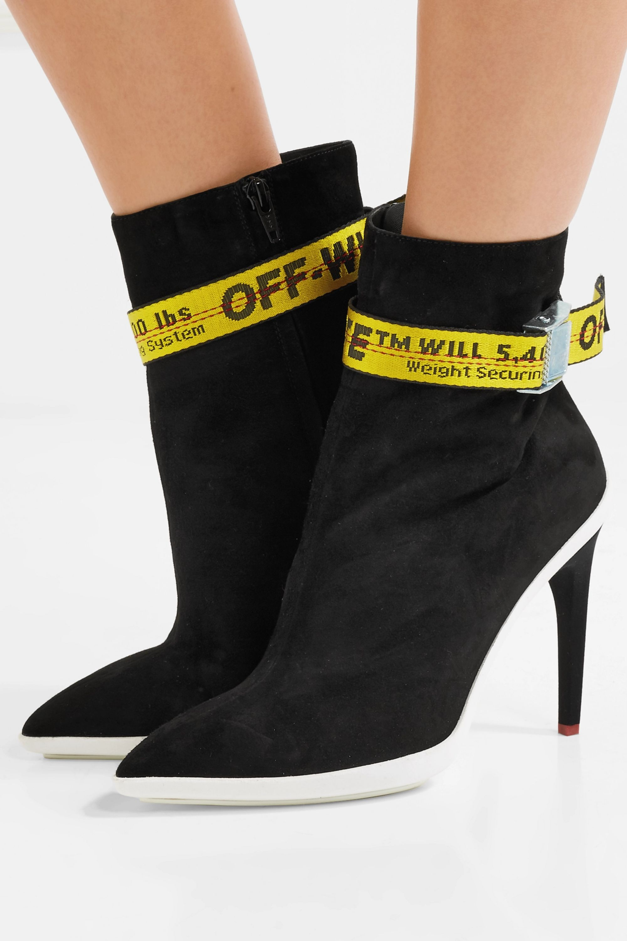 Off-White Grosgrain-trimmed suede ankle boots