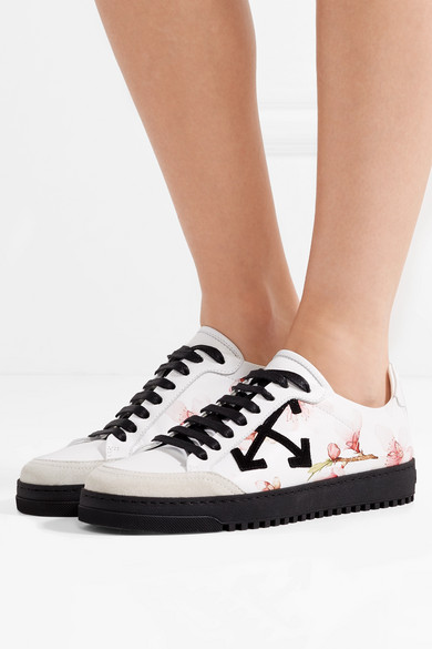 Off-white Printed Sneakers In Leather With Painting And Decorating From Suede