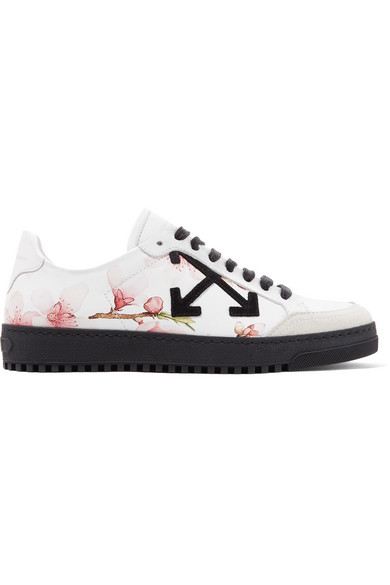 Off-White - Suede-trimmed Printed Leather Sneakers