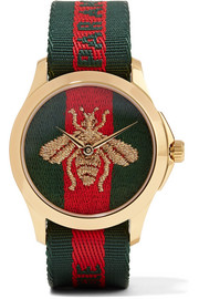Gucci Canvas and gold-tone watch