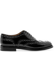Burwood Met studded glossed-leather brogues