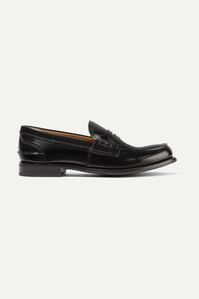 CHURCH'S Pembrey Glossed-Leather Loafers in Black