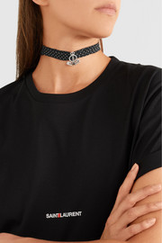 Saint Laurent Polka-dot crepe de chine, silver-tone and crystal choker