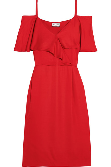 Paul & Joe - Cold-shoulder Satin Dress - Red