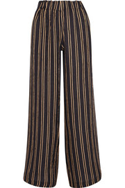 Vertige striped crinkled-silk crepe wide-leg pants