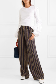 Paul & Joe Vertige striped crinkled-silk crepe wide-leg pants