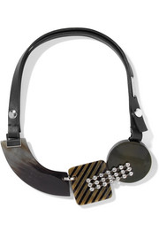 Marni Leather, horn, silver-tone and crystal necklace