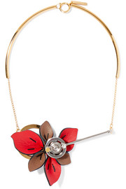 Gold and silver-tone leather necklace