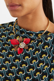 Marni Gold and silver-tone leather necklace