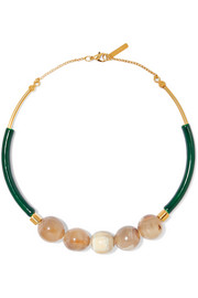 Marni Gold-plated, resin and horn necklace