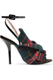 Knotted plaid canvas and patent-leather sandals