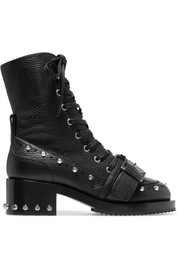 Studded textured-leather biker boots