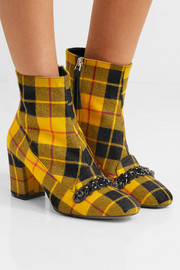 Embellished plaid canvas ankle boots