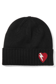 Embroidered wool beanie
