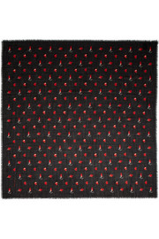 Saint Laurent Printed wool-gauze scarf