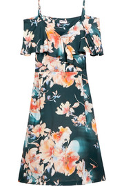 Paul & Joe Cold-shoulder floral-print satin-twill dress