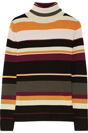Sigrid striped ribbed merino wool turtleneck sweater