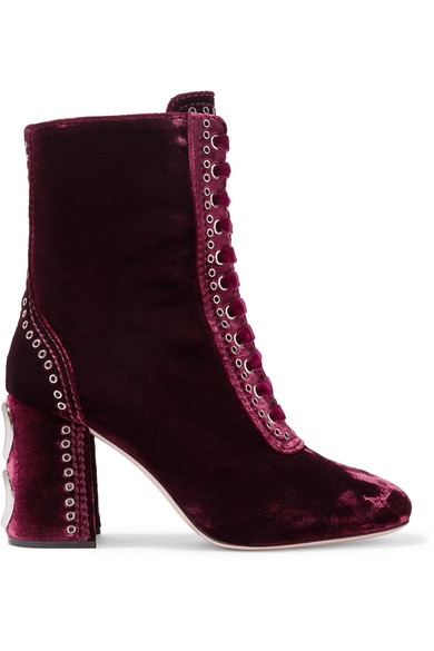 Miu Miu - Lace-up Embellished Velvet Ankle Boots - Burgundy