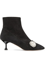 Crystal and faux pearl-embellished suede ankle boots