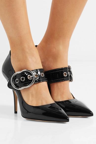 MIU MIU - Buckled Patent-Leather Pumps - Black