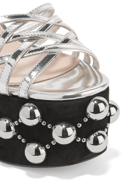 73ff729bb555 Miu Miu. Metallic leather and studded suede platform sandals.  495. Zoom In