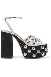 Miu Miu Metallic leather and studded suede platform sandals